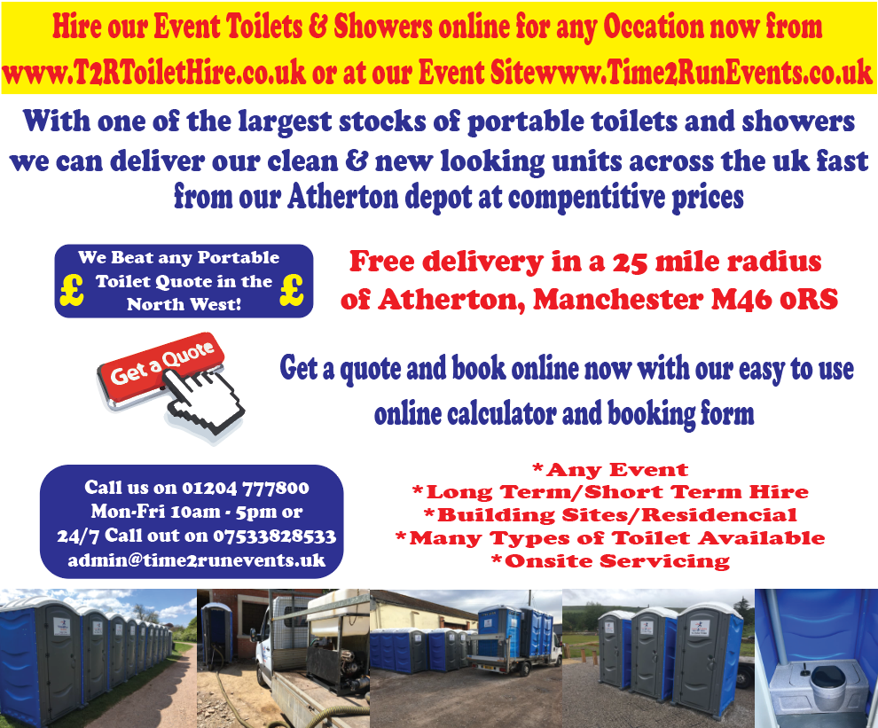 portable toilet hire manchester from time2run events