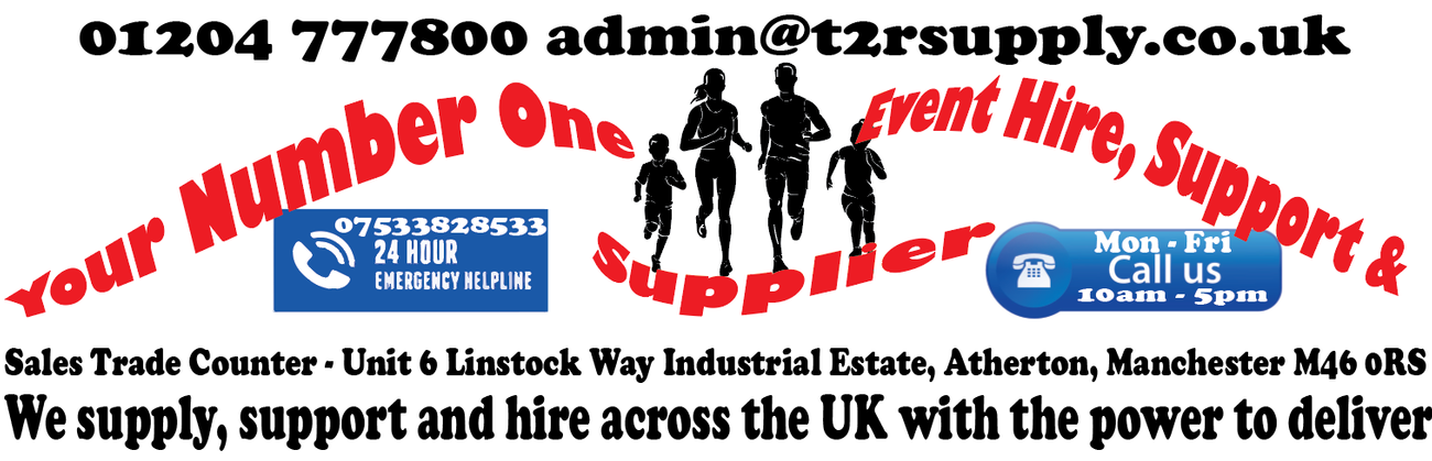 T2R SUPPLY SCREENPRINTING EMBROIDERY HIRE ATHERTON UK CHIP TIMING